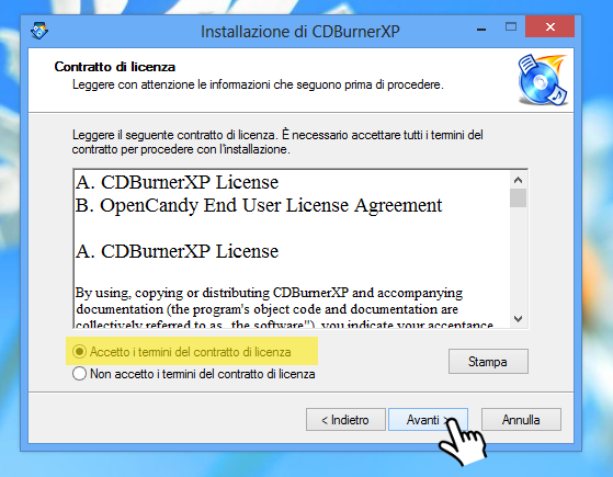 CDBurnerXP - Accetta