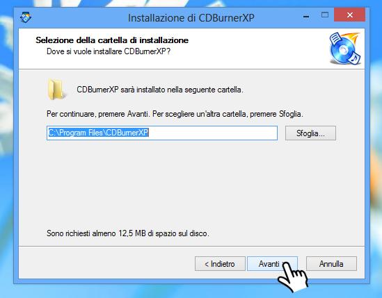 CDBurnerXP - Percorso installazione