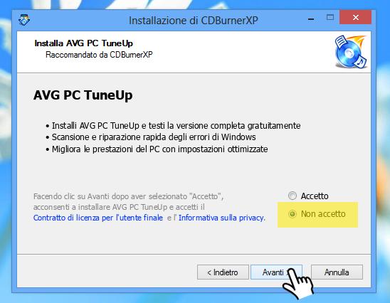 CDBurnerXP - NON ACCETTO