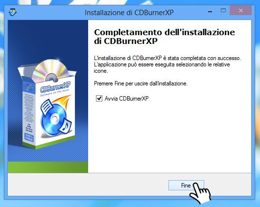 CDBurnerXP - Installazione finita